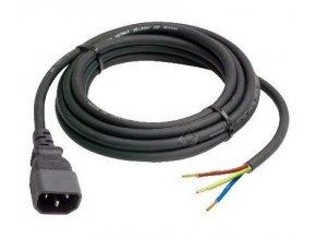 Kabel 2m s drátky a IEC konektorem (male) 3x 1,5mm